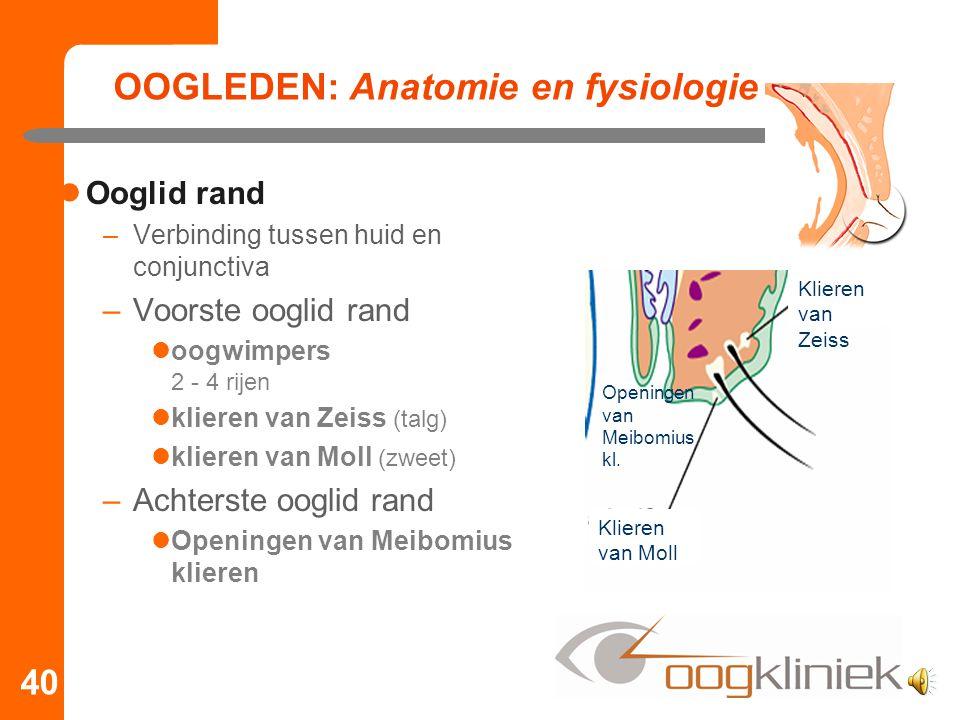 OOGLEDEN: Anatomie en fysiologie Ooglid rand –Verbinding tussen huid en conjunctiva –Voorste ooglid rand oogwimpers 2 - 4 rijen klieren van Zeiss (tal