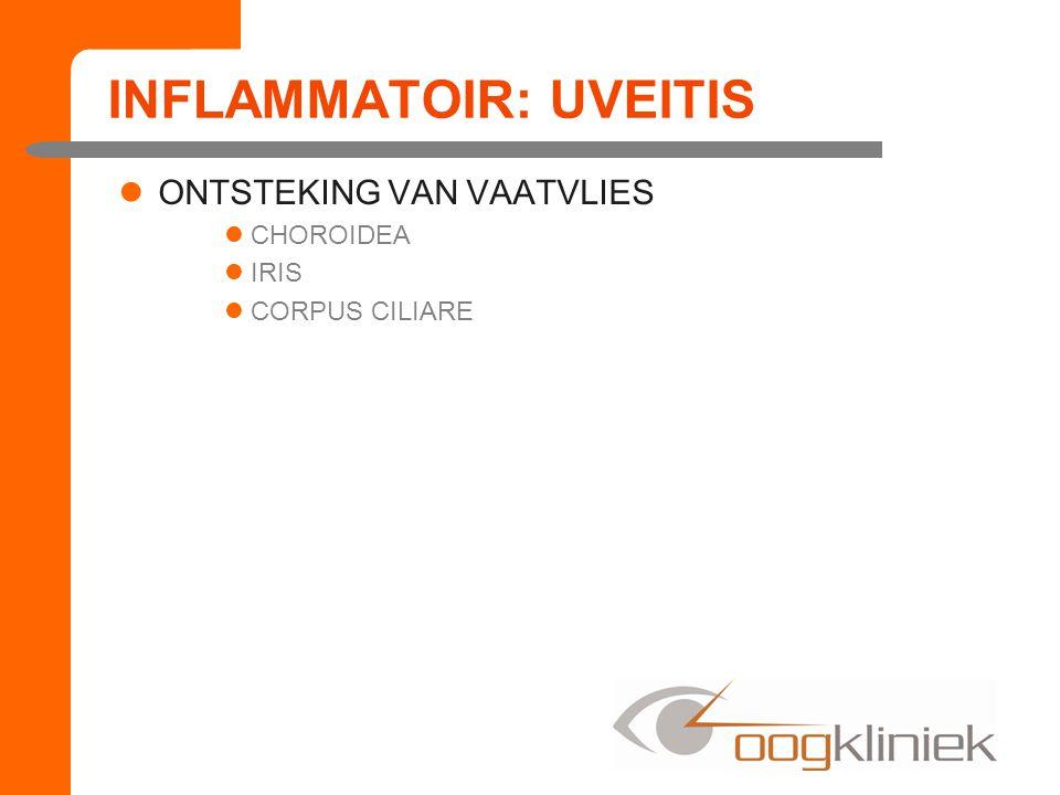 INFLAMMATOIR: UVEITIS ANTERIOR UVEÏTIS –IRITIS –IRIDOCYCLITIS POSTERIOR UVEÏTIS –VITRITIS –CHOROÏDITIS
