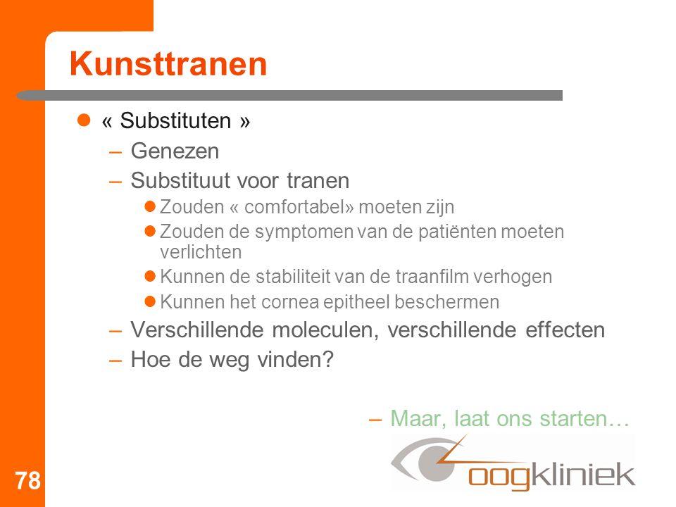 Kunsttranen « Substituten » –Genezen –Substituut voor tranen Zouden « comfortabel» moeten zijn Zouden de symptomen van de patiënten moeten verlichten