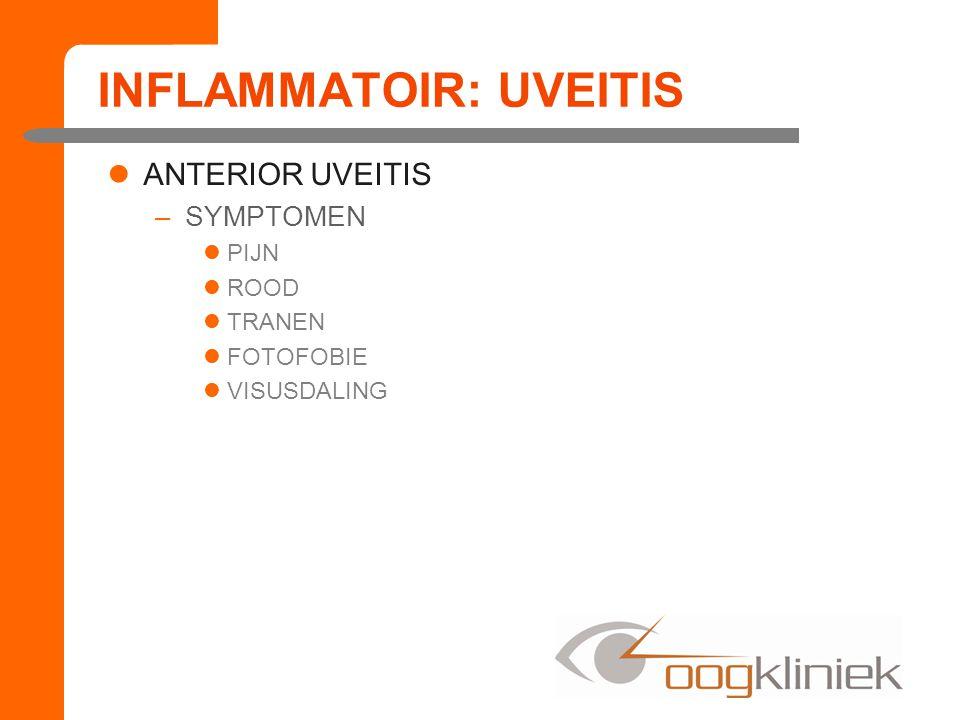 INFLAMMATOIR: UVEITIS ANTERIOR UVEITIS –KLINISCHE TEKENS MIOSIS TYNDALL+ CELLEN+ POSTERIEURE SYNNECHIEEN –VERGROEIING TUSSEN IRIS EN LENS CONJUNCTIVALE INJECTIE PERILIMBAAL HYPOPYON –CHRONISCH RECIDIVERENDE VORM CATARACT
