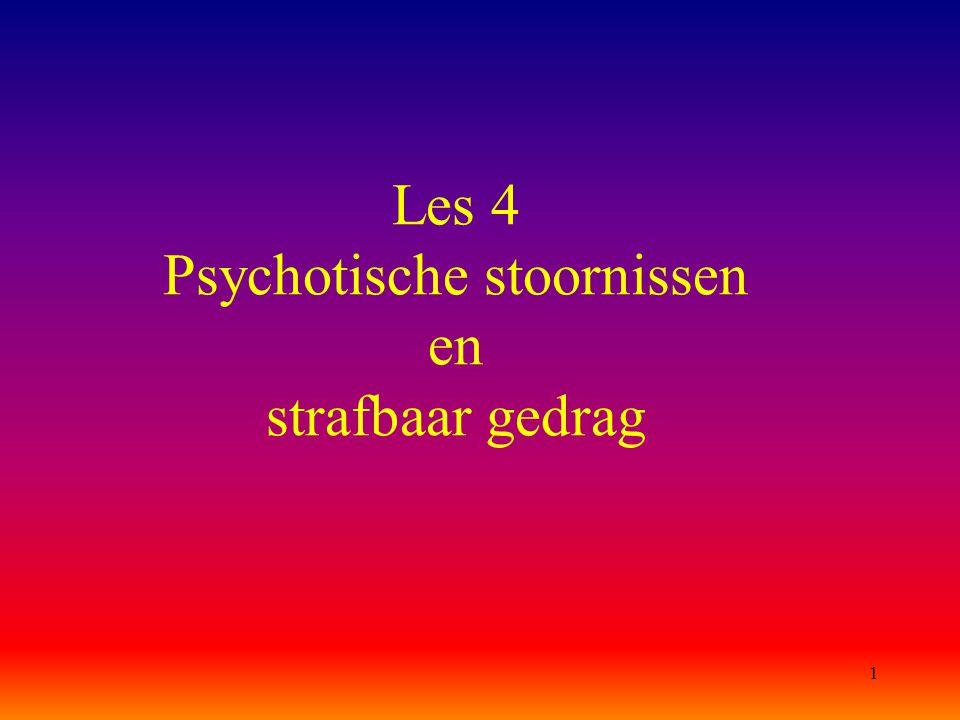 12 Schizofrenie & SGG (vervolg) b) Het leefklimaat Omgevingsfactoren zijn zeer belangrijk (overstimulerende stresssituaties lokken herval in de stoornis en eventueel misdrijven uit) NB: Gevangenispsychose Schizofrenie (of andere psychotische stoornis) manifesteert zich soms in de aanvangsperiode van een opsluiting in een gevangenis: het gepleegde misdrijf en de opsluiting kunnen als stressvolle 'live events' een psychotische opstoot mede uitlokken