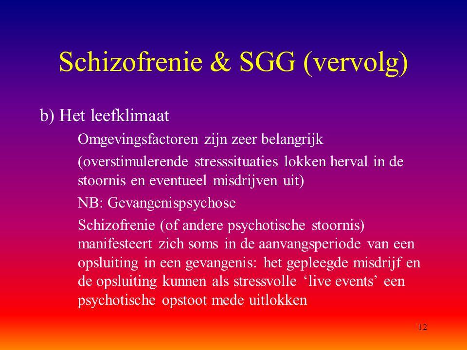 12 Schizofrenie & SGG (vervolg) b) Het leefklimaat Omgevingsfactoren zijn zeer belangrijk (overstimulerende stresssituaties lokken herval in de stoorn