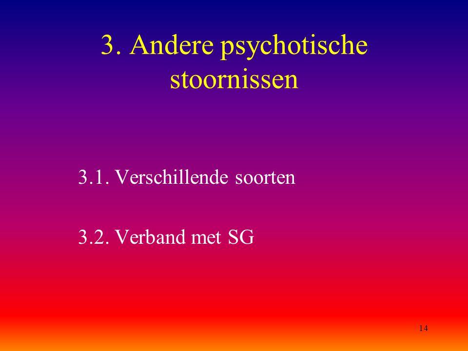 14 3. Andere psychotische stoornissen 3.1. Verschillende soorten 3.2. Verband met SG