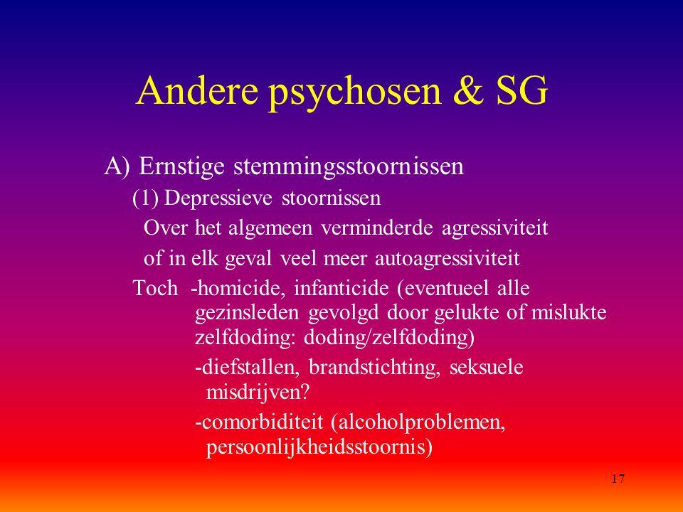 17 Andere psychosen & SG A) Ernstige stemmingsstoornissen (1) Depressieve stoornissen Over het algemeen verminderde agressiviteit of in elk geval veel