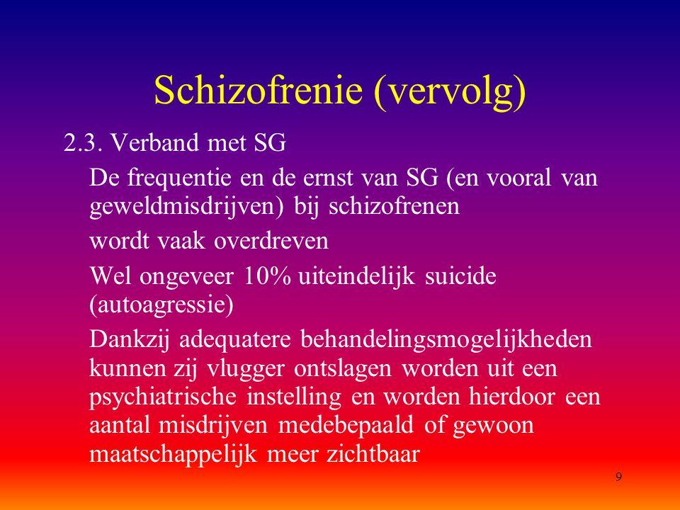 9 Schizofrenie (vervolg) 2.3. Verband met SG De frequentie en de ernst van SG (en vooral van geweldmisdrijven) bij schizofrenen wordt vaak overdreven