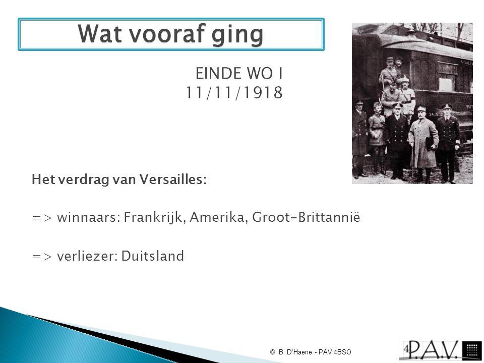=> winnaars: Frankrijk, Amerika, Groot-Brittannië => verliezer: Duitsland © B. D'Haene - PAV 4BSO Wat vooraf ging Het verdrag van Versailles: