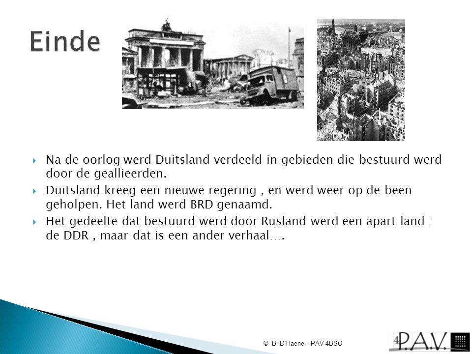  Na de oorlog werd Duitsland verdeeld in gebieden die bestuurd werd door de geallieerden.  Duitsland kreeg een nieuwe regering, en werd weer op de b