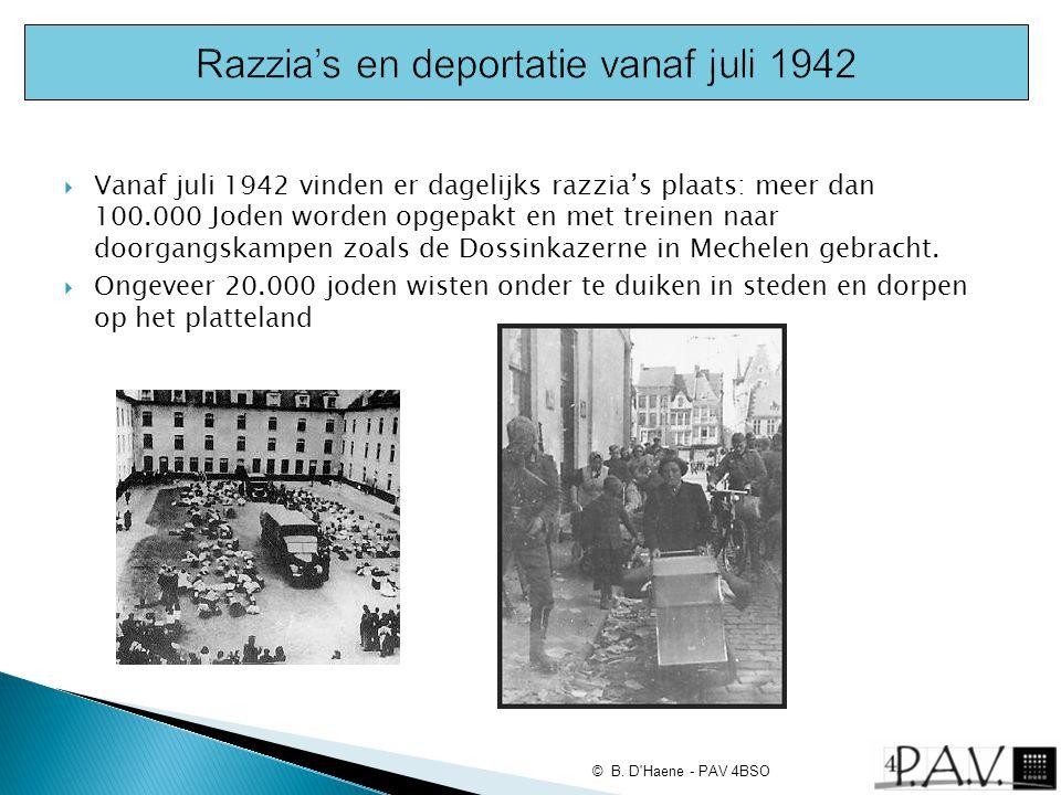  Vanaf juli 1942 vinden er dagelijks razzia's plaats: meer dan 100.000 Joden worden opgepakt en met treinen naar doorgangskampen zoals de Dossinkazer