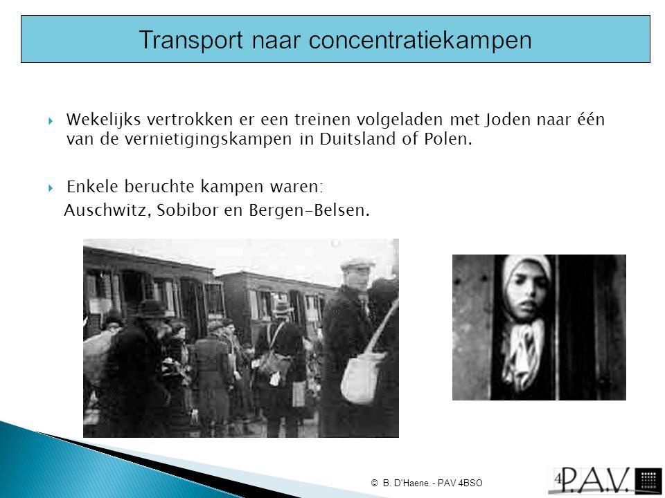  Wekelijks vertrokken er een treinen volgeladen met Joden naar één van de vernietigingskampen in Duitsland of Polen.  Enkele beruchte kampen waren:
