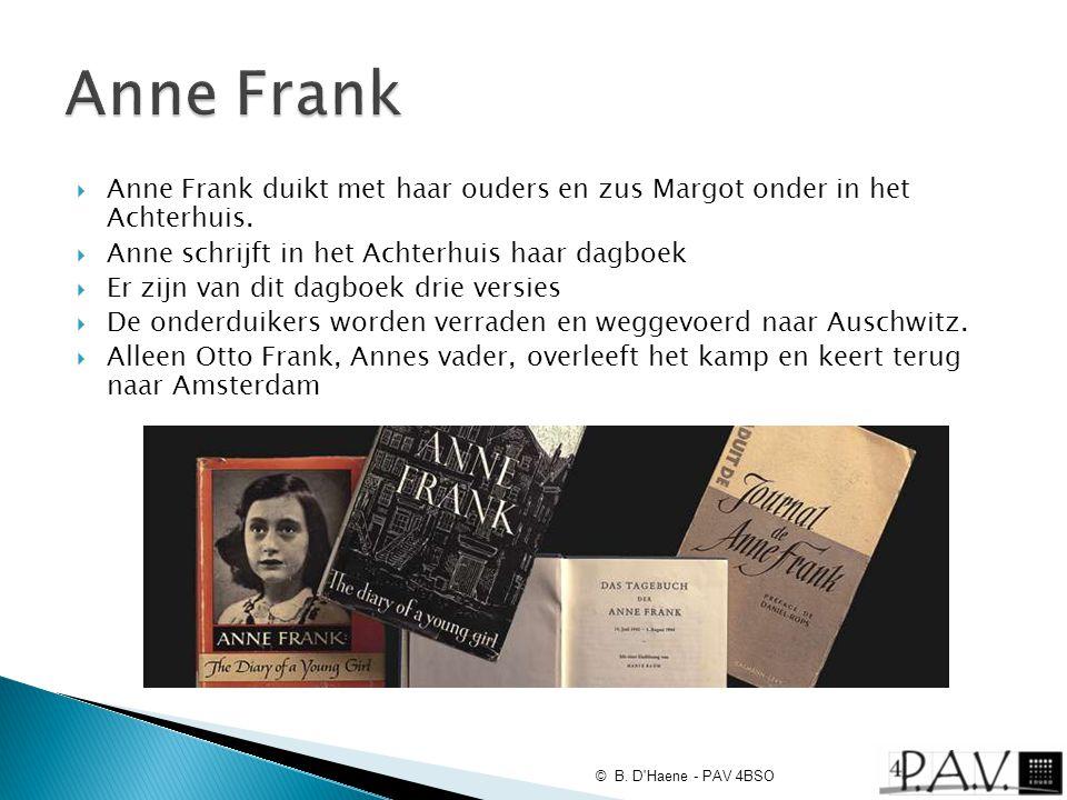  Anne Frank duikt met haar ouders en zus Margot onder in het Achterhuis.  Anne schrijft in het Achterhuis haar dagboek  Er zijn van dit dagboek dri