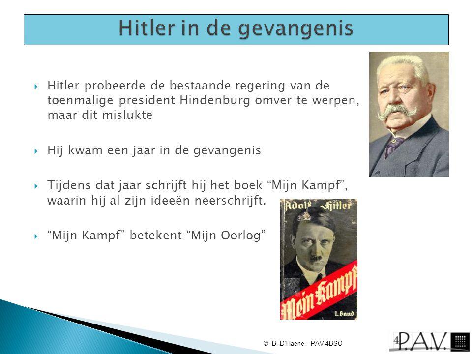  Hitler probeerde de bestaande regering van de toenmalige president Hindenburg omver te werpen, maar dit mislukte  Hij kwam een jaar in de gevangeni