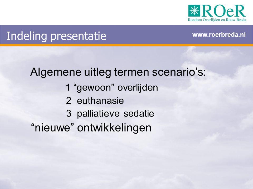"""Indeling presentatie Algemene uitleg termen scenario's: 1 """"gewoon"""" overlijden 2 euthanasie 3 palliatieve sedatie """"nieuwe"""" ontwikkelingen www.roerbreda"""