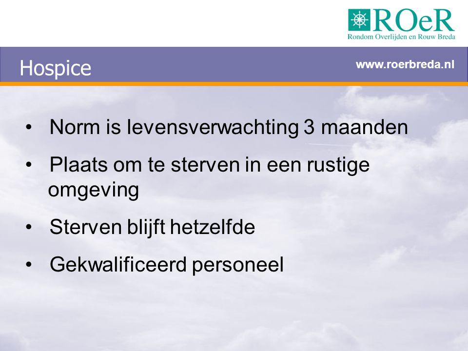 Hospice Norm is levensverwachting 3 maanden Plaats om te sterven in een rustige omgeving Sterven blijft hetzelfde Gekwalificeerd personeel www.roerbre