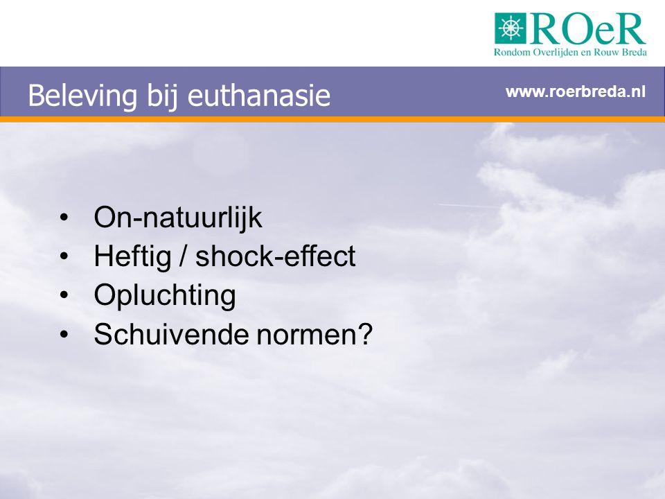 Beleving bij euthanasie On-natuurlijk Heftig / shock-effect Opluchting Schuivende normen? www.roerbreda.nl