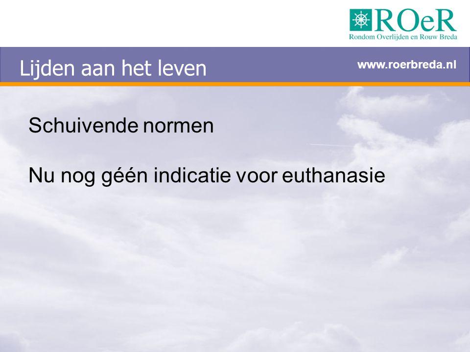 Lijden aan het leven Schuivende normen Nu nog géén indicatie voor euthanasie www.roerbreda.nl