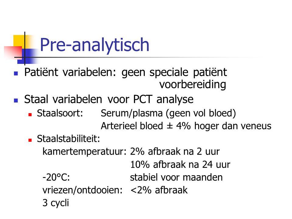 Pre-analytisch Patiënt variabelen: geen speciale patiënt voorbereiding Staal variabelen voor PCT analyse Staalsoort: Serum/plasma (geen vol bloed) Art