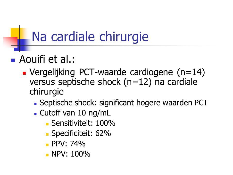 Na cardiale chirurgie Aouifi et al.: Vergelijking PCT-waarde cardiogene (n=14) versus septische shock (n=12) na cardiale chirurgie Septische shock: si