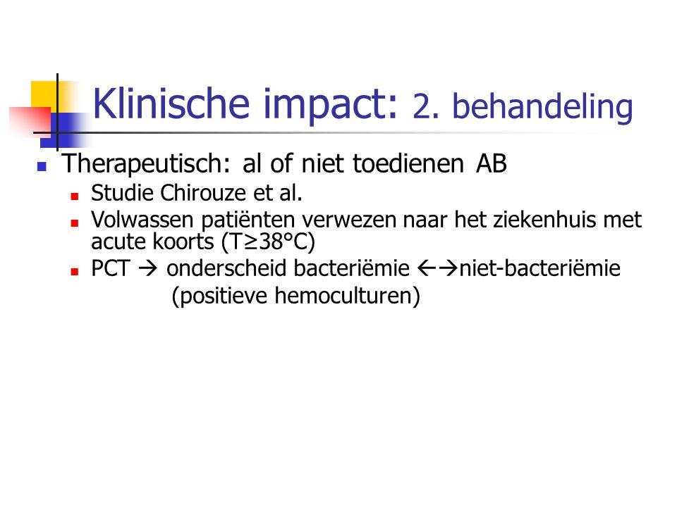 Klinische impact: 2. behandeling Therapeutisch: al of niet toedienen AB Studie Chirouze et al. Volwassen patiënten verwezen naar het ziekenhuis met ac