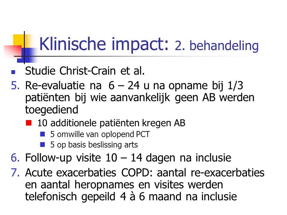 Klinische impact: 2. behandeling Studie Christ-Crain et al. 5.Re-evaluatie na 6 – 24 u na opname bij 1/3 patiënten bij wie aanvankelijk geen AB werden