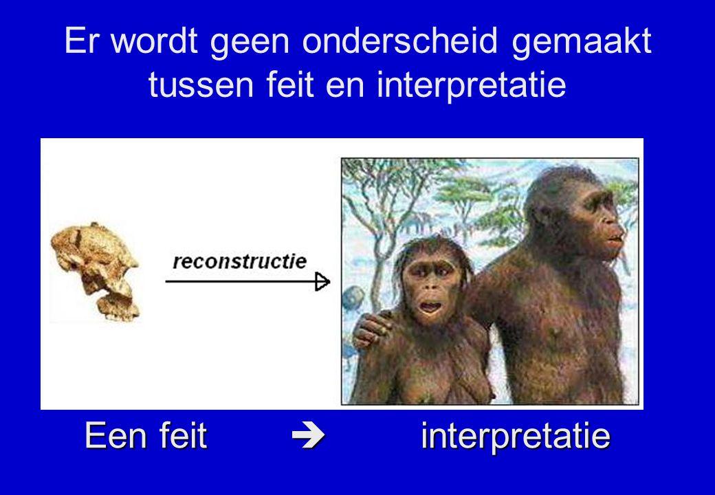 Een feit  interpretatie Er wordt geen onderscheid gemaakt tussen feit en interpretatie