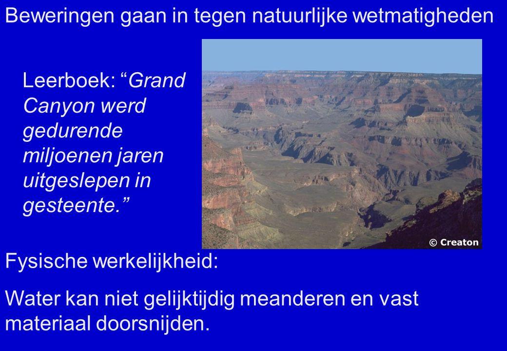 Leerboek: Grand Canyon werd gedurende miljoenen jaren uitgeslepen in gesteente. Fysische werkelijkheid: Water kan niet gelijktijdig meanderen en vast materiaal doorsnijden.