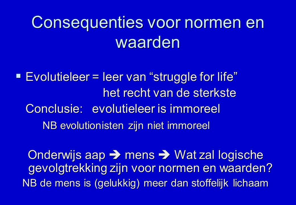 """Consequenties voor normen en waarden  Evolutieleer = leer van """"struggle for life"""" het recht van de sterkste het recht van de sterkste Conclusie: evol"""