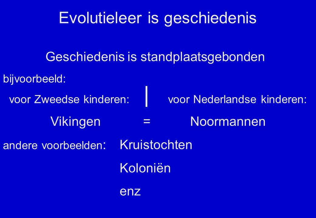 Evolutieleer is geschiedenis Geschiedenis is standplaatsgebonden bijvoorbeeld: voor Zweedse kinderen: voor Nederlandse kinderen: Vikingen = Noormannen andere voorbeelden :Kruistochten Koloniën enz