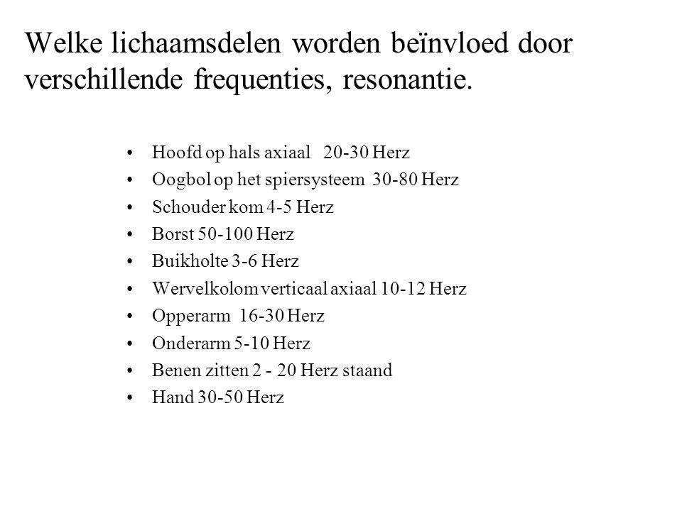 Welke lichaamsdelen worden beïnvloed door verschillende frequenties, resonantie. Hoofd op hals axiaal 20-30 Herz Oogbol op het spiersysteem 30-80 Herz