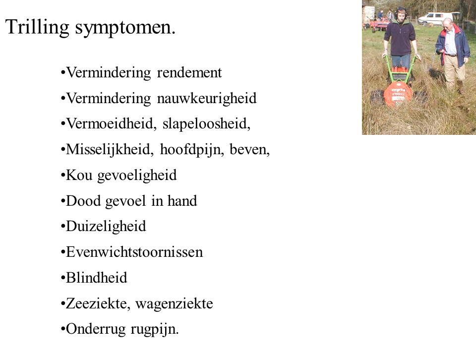 Trilling symptomen. Vermindering rendement Vermindering nauwkeurigheid Vermoeidheid, slapeloosheid, Misselijkheid, hoofdpijn, beven, Kou gevoeligheid