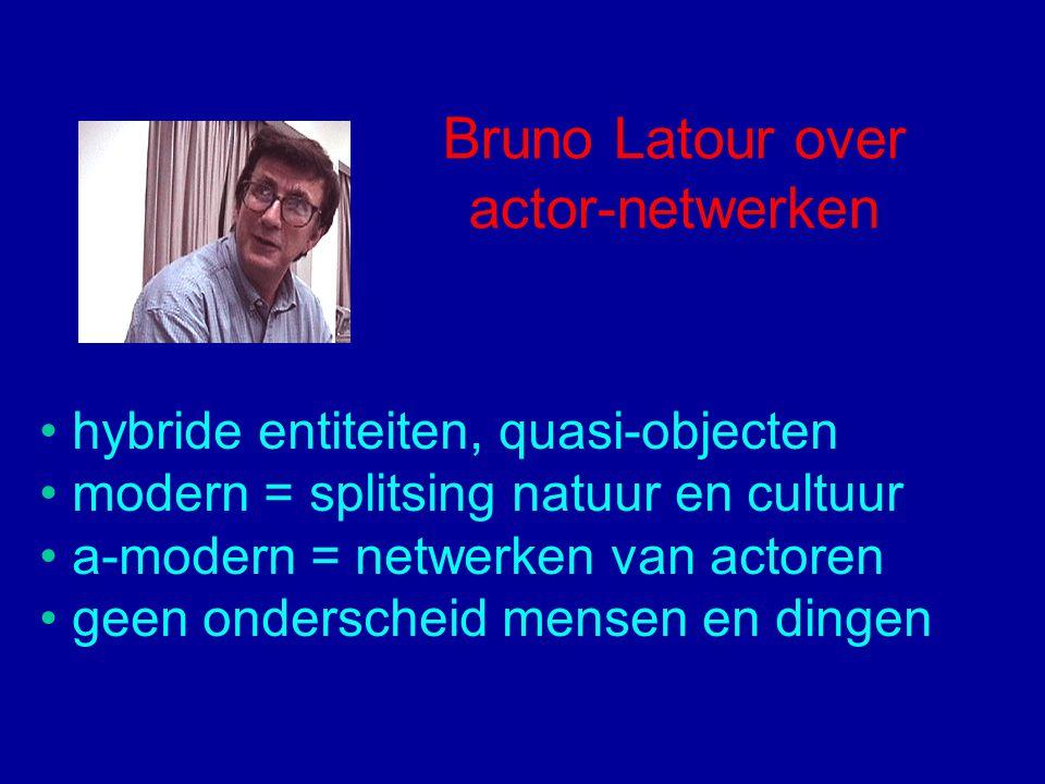 Bruno Latour over actor-netwerken hybride entiteiten, quasi-objecten modern = splitsing natuur en cultuur a-modern = netwerken van actoren geen onderscheid mensen en dingen