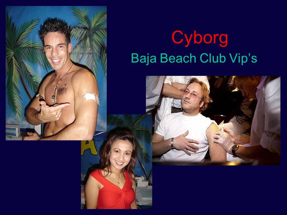 Cyborg iconen Arnold Schwarzenegger: Terminator/governator Christopher Reeve: Superman/superpatient Kevin Warwick/Baja Beach VIP's: Mad science/mad marketting