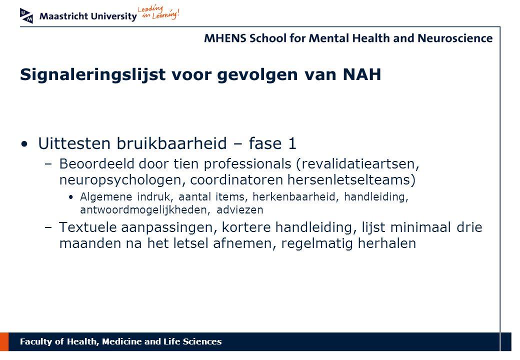 Faculty of Health, Medicine and Life Sciences Signaleringslijst voor gevolgen van NAH Uittesten bruikbaarheid – fase 1 –Beoordeeld door tien professio
