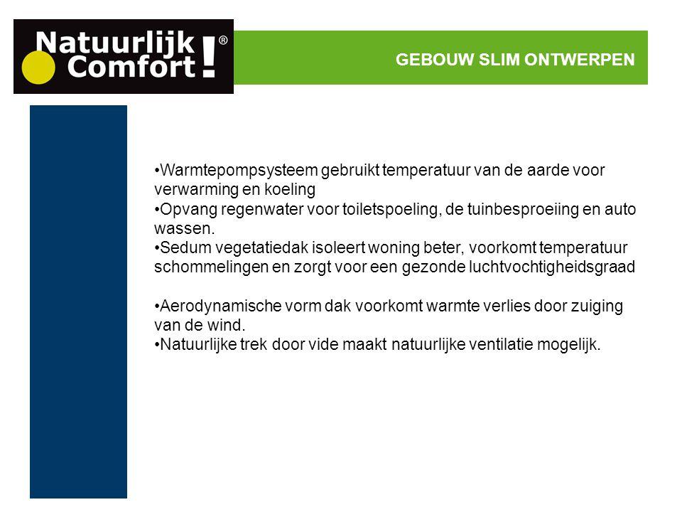 Warmtepompsysteem gebruikt temperatuur van de aarde voor verwarming en koeling Opvang regenwater voor toiletspoeling, de tuinbesproeiing en auto wasse