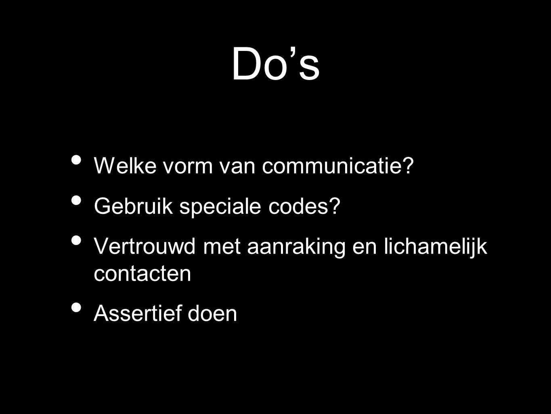 Do's Welke vorm van communicatie? Gebruik speciale codes? Vertrouwd met aanraking en lichamelijk contacten Assertief doen