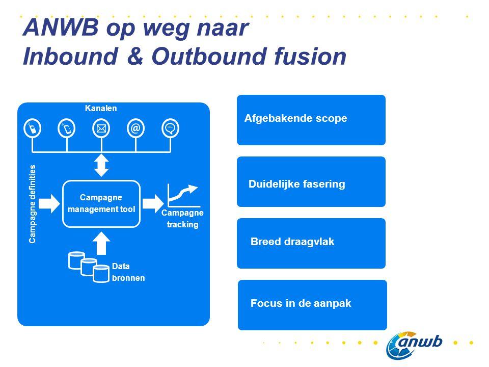 Campagne management tool Campagne definities Data bronnen Kanalen Campagne tracking Afgebakende scope Duidelijke fasering Breed draagvlak Focus in de aanpak ANWB op weg naar Inbound & Outbound fusion