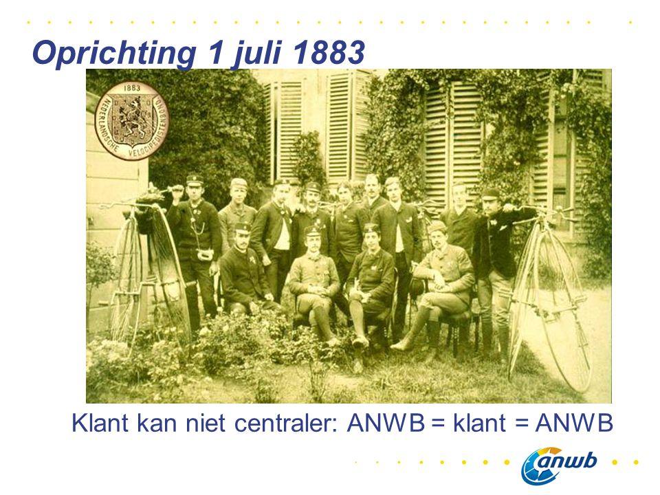 Klant kan niet centraler: ANWB = klant = ANWB Oprichting 1 juli 1883