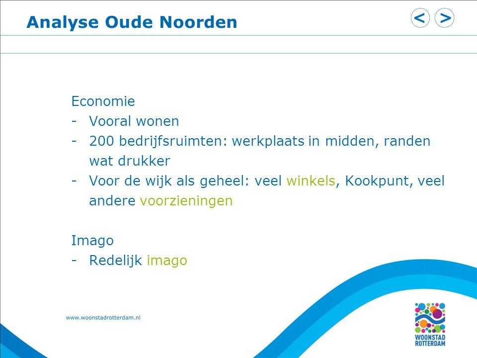 Analyse Oude Noorden Economie -Vooral wonen -200 bedrijfsruimten: werkplaats in midden, randen wat drukker -Voor de wijk als geheel: veel winkels, Koo