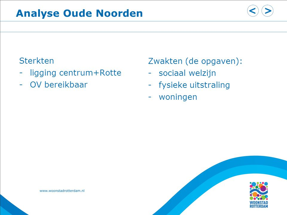 Analyse Oude Noorden Sterkten -ligging centrum+Rotte -OV bereikbaar Zwakten (de opgaven): -sociaal welzijn -fysieke uitstraling -woningen