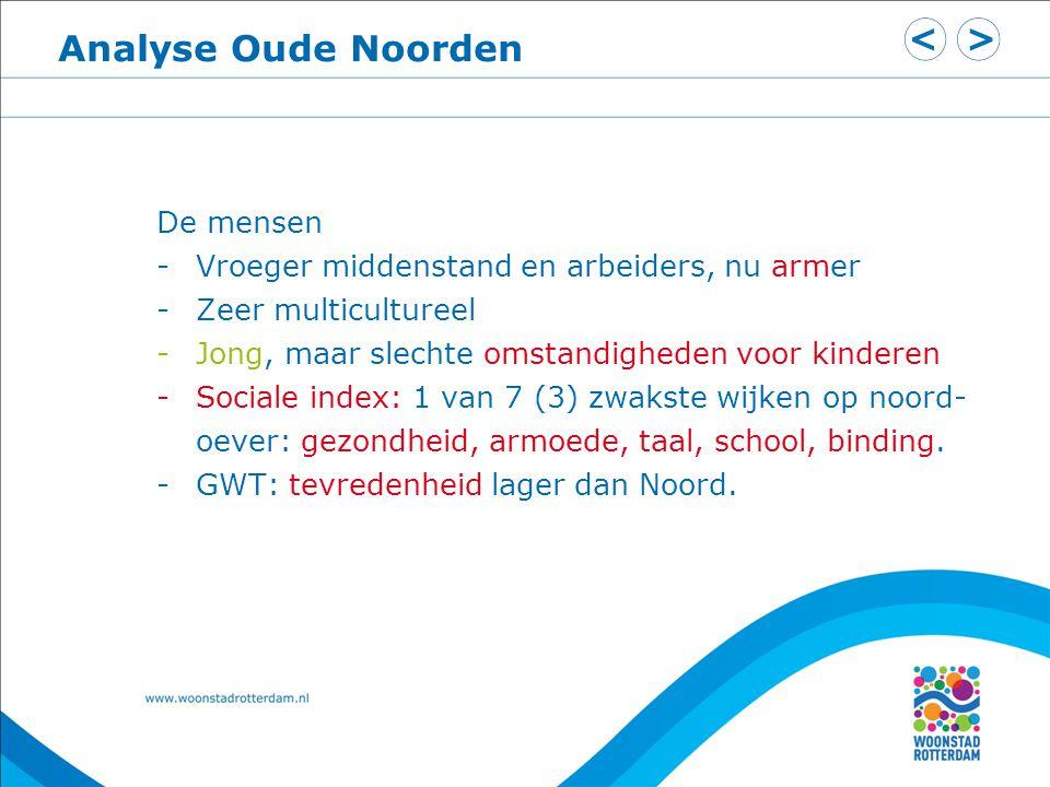 Analyse Oude Noorden De mensen -Vroeger middenstand en arbeiders, nu armer -Zeer multicultureel -Jong, maar slechte omstandigheden voor kinderen -Soci