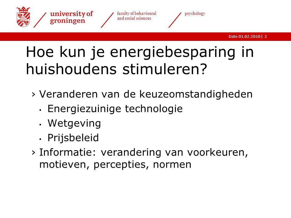 |Date 01.02.2010 faculty of behavioural and social sciences psychology 2 Hoe kun je energiebesparing in huishoudens stimuleren? ›Veranderen van de keu
