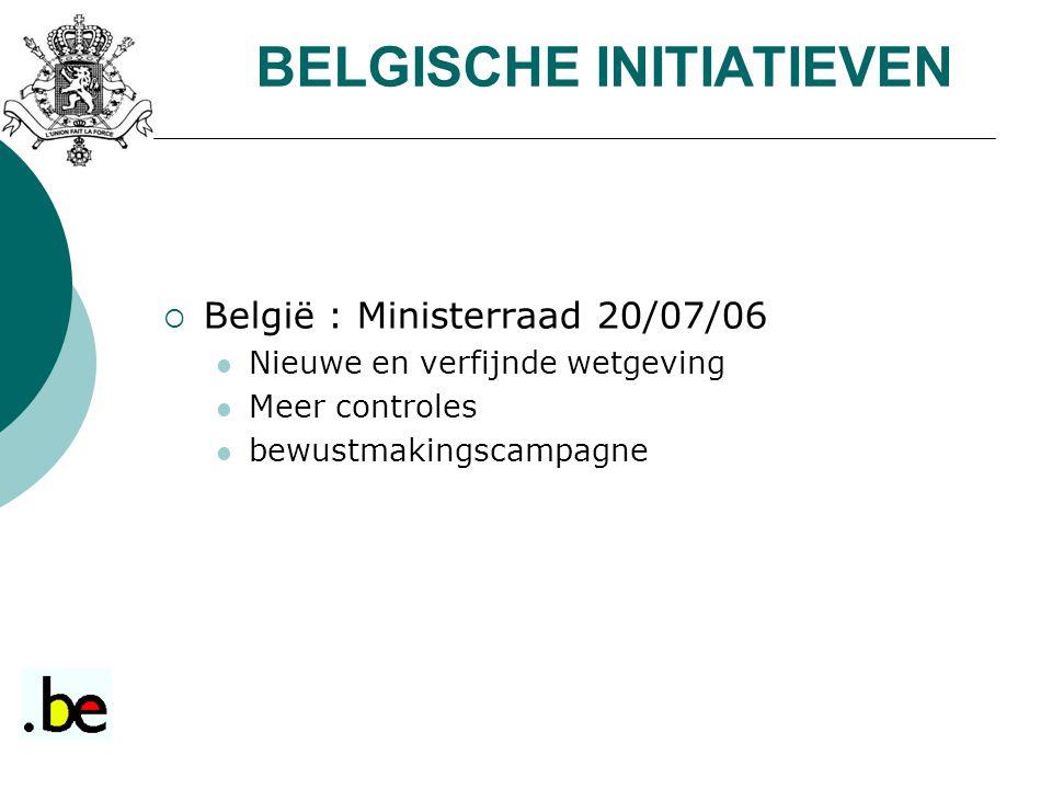  België : Ministerraad 20/07/06 Nieuwe en verfijnde wetgeving Meer controles bewustmakingscampagne BELGISCHE INITIATIEVEN