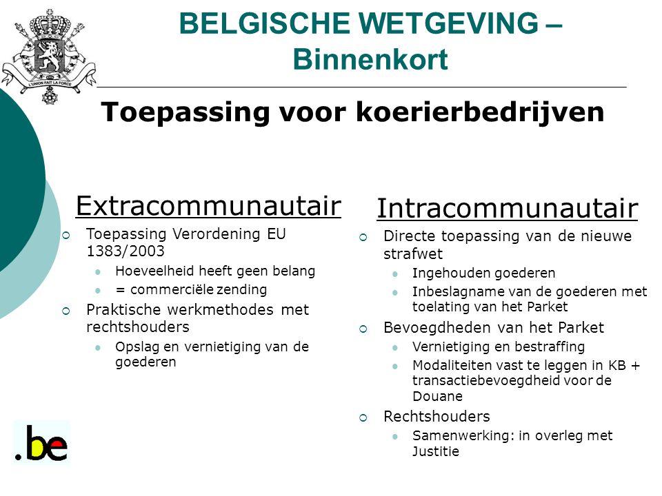 BELGISCHE WETGEVING – Binnenkort Toepassing voor koerierbedrijven Extracommunautair  Toepassing Verordening EU 1383/2003 Hoeveelheid heeft geen belan