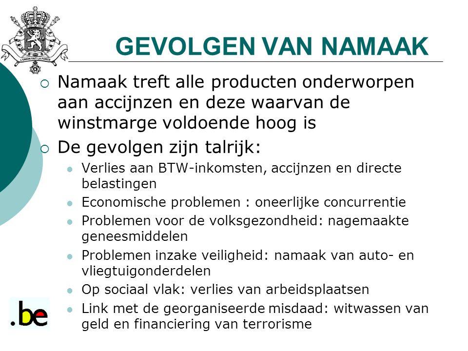 GEVOLGEN VAN NAMAAK  Namaak treft alle producten onderworpen aan accijnzen en deze waarvan de winstmarge voldoende hoog is  De gevolgen zijn talrijk