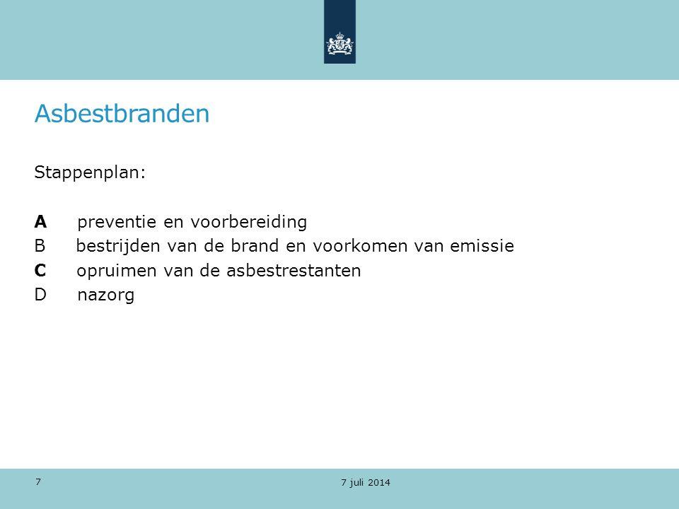 Asbestbranden Preventie - Contract met * asbestinventarisatiebedrijf * asbestverwijderingsbedrijf * laboratorium - Standaardbrief voor omwonenden - Mandaat om bestuursdwang te kunnen toepassen 7 juli 2014 8