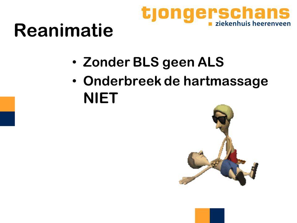 Reanimatie Zonder BLS geen ALS Onderbreek de hartmassage NIET