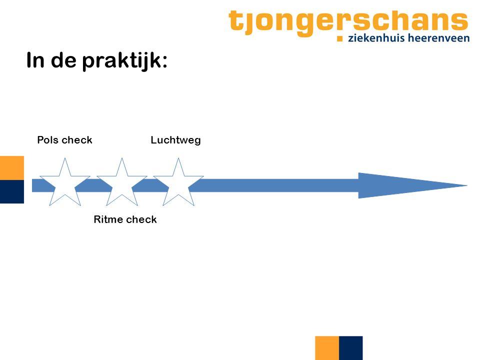 In de praktijk: Pols check Ritme check Luchtweg
