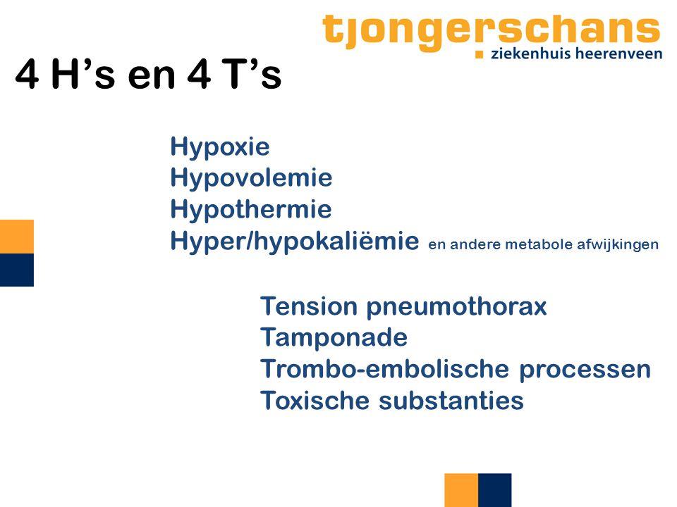4 H's en 4 T's Hypoxie Hypovolemie Hypothermie Hyper/hypokaliëmie en andere metabole afwijkingen Tension pneumothorax Tamponade Trombo-embolische proc