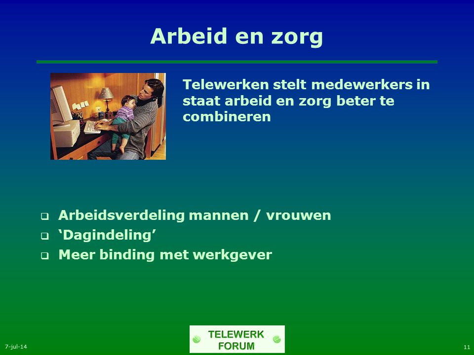 7-jul-14 11 Arbeid en zorg Telewerken stelt medewerkers in staat arbeid en zorg beter te combineren  Arbeidsverdeling mannen / vrouwen  'Dagindeling'  Meer binding met werkgever
