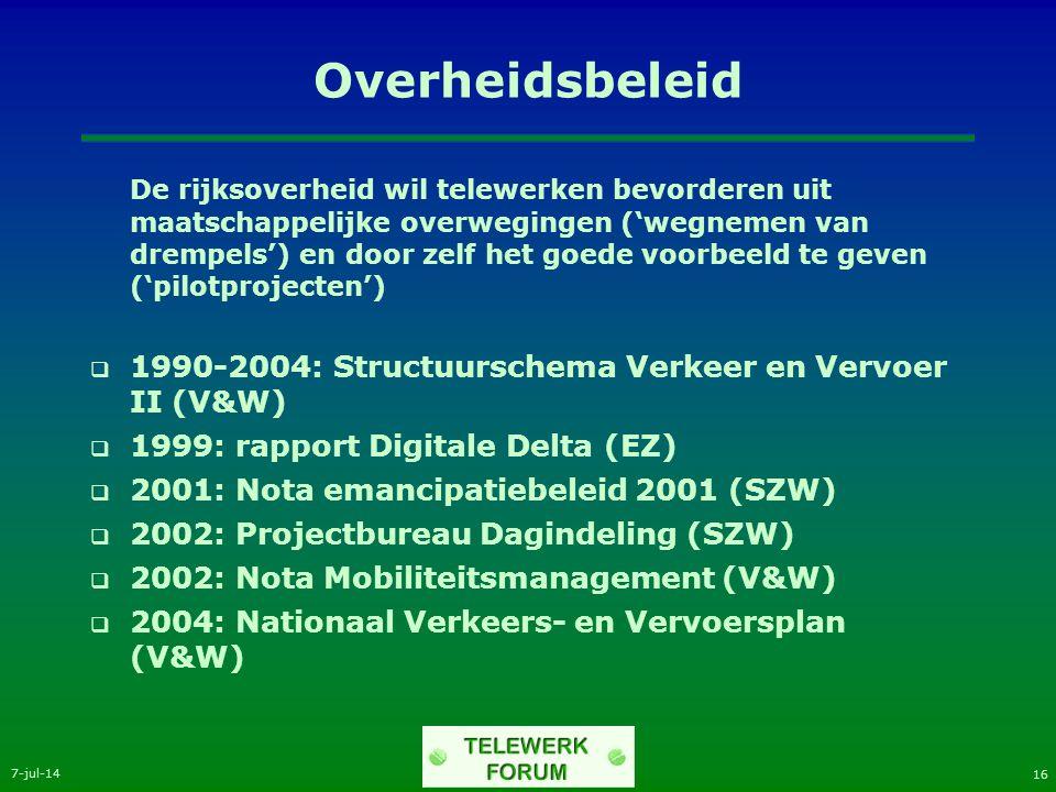 7-jul-14 16 Overheidsbeleid De rijksoverheid wil telewerken bevorderen uit maatschappelijke overwegingen ('wegnemen van drempels') en door zelf het goede voorbeeld te geven ('pilotprojecten')  1990-2004: Structuurschema Verkeer en Vervoer II (V&W)  1999: rapport Digitale Delta (EZ)  2001: Nota emancipatiebeleid 2001 (SZW)  2002: Projectbureau Dagindeling (SZW)  2002: Nota Mobiliteitsmanagement (V&W)  2004: Nationaal Verkeers- en Vervoersplan (V&W)