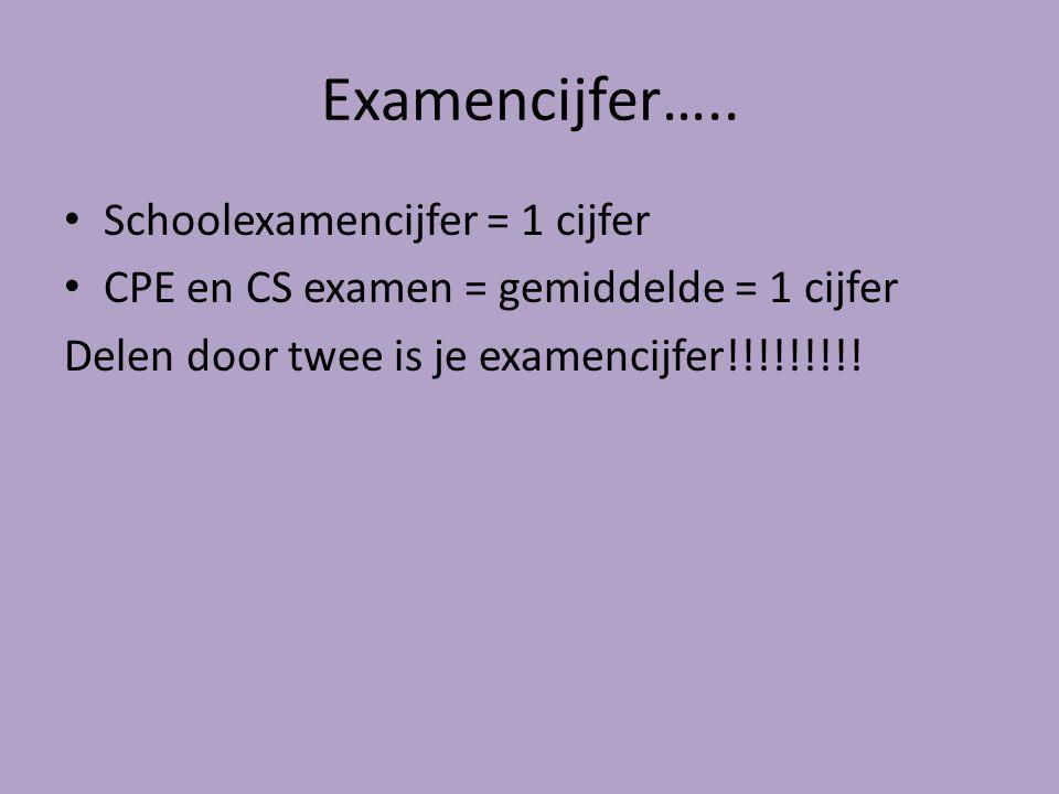 Examencijfer….. Schoolexamencijfer = 1 cijfer CPE en CS examen = gemiddelde = 1 cijfer Delen door twee is je examencijfer!!!!!!!!!